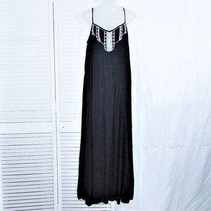 Zara blue beaded bib maxi dress L
